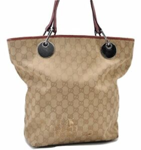 4a0d1e7bf76b Image is loading Authentic-GUCCI-Tote-Bag-GG-Canvas-Leather-Beige-