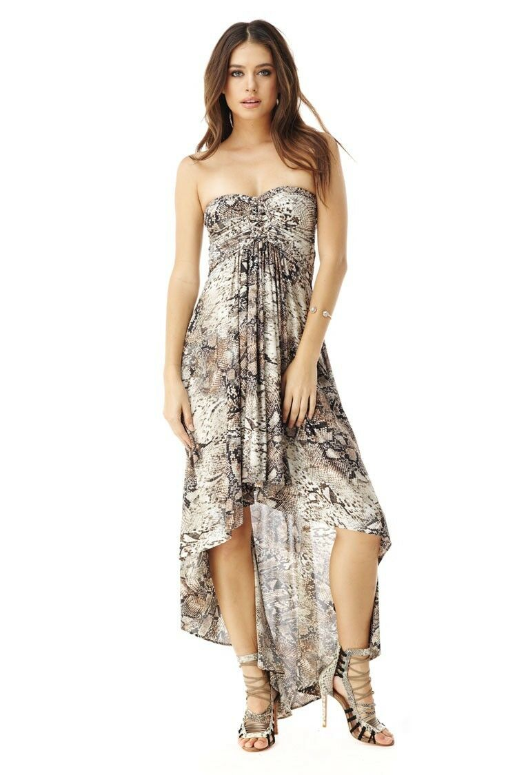 Sky Clothing Brand XS High Low Dress Queenie Strapless Braided Reptile Print
