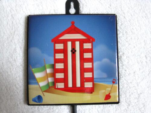 Keramik Fliese mit Haken Strandhaus Design 22cm Kleiderhaken Wandhaken
