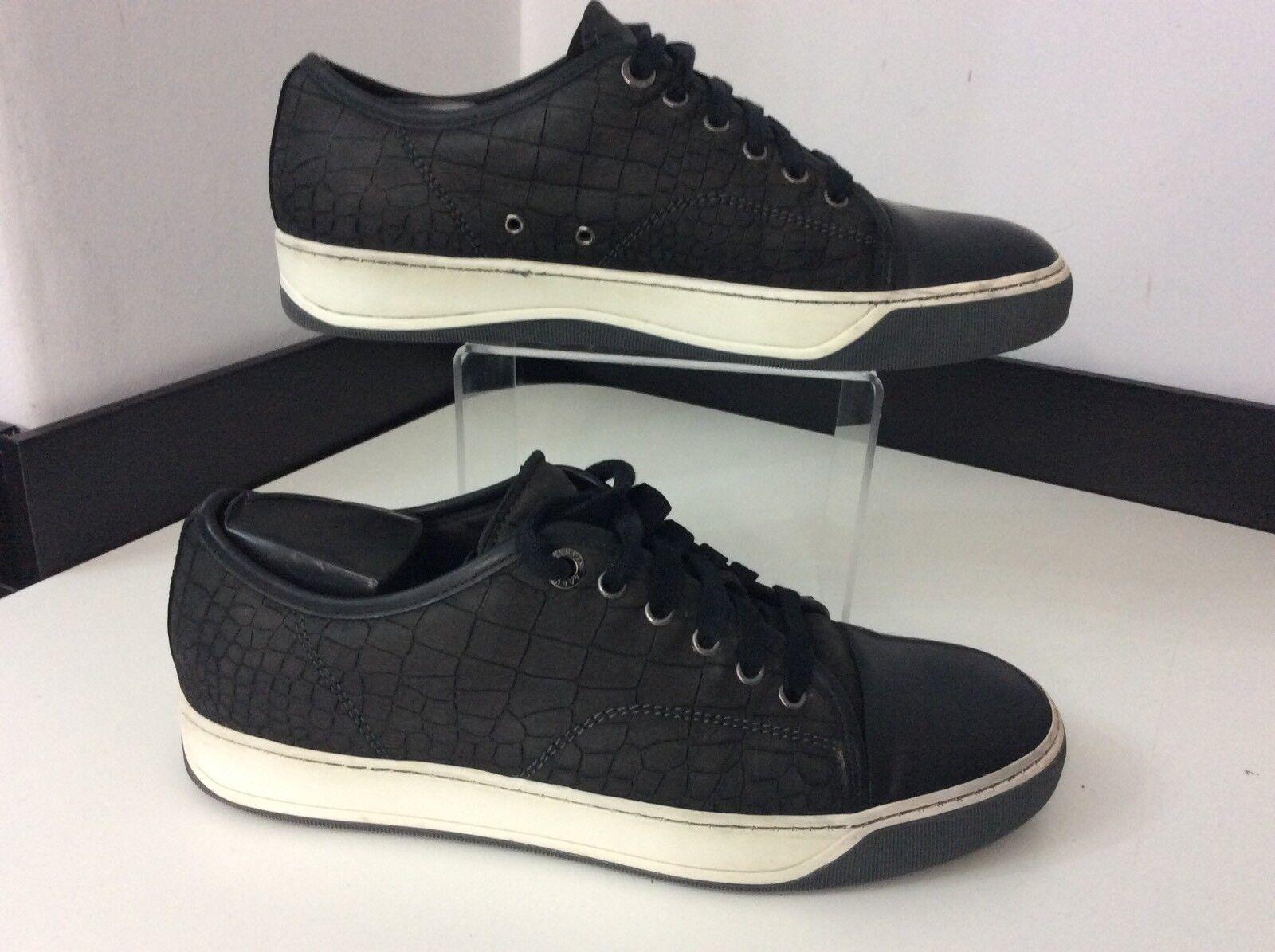 Lanvin Men's Baskets, Croc Print Leather Uk 6 Eu40, Navy Bleu, Trainers Chaussures