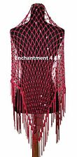 Exotic Crochet Net Triangle Shawl Wrap Belly Dance Hip Scarf w/ Sequin, Hot Pink