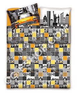 Ensemble Literie Lit Francais 140x240 Ville De New York Gris Jaune