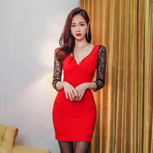 a81741e58927 Caricamento dell immagine in corso Elegante-vestito-abito-tubino-rosso -nero-pizzo-corto-