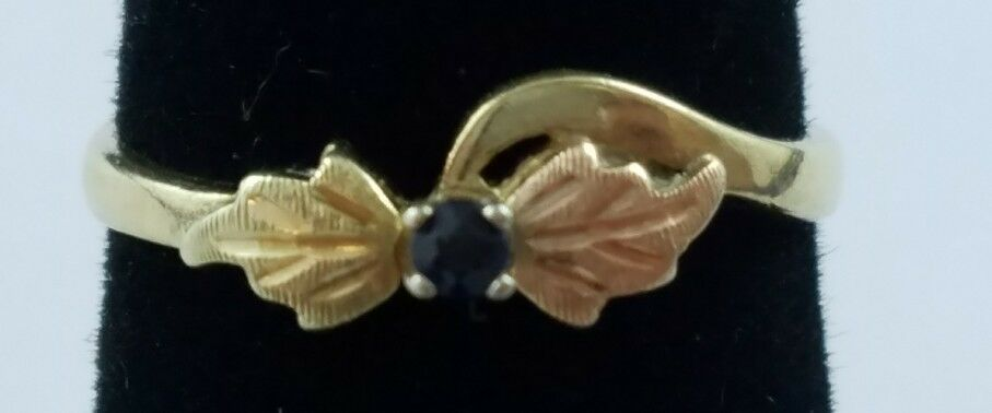 10k Yellow & pink gold Leaf Ring Small Round bluee Topaz Stone Sz 3.25 FREE SHIP