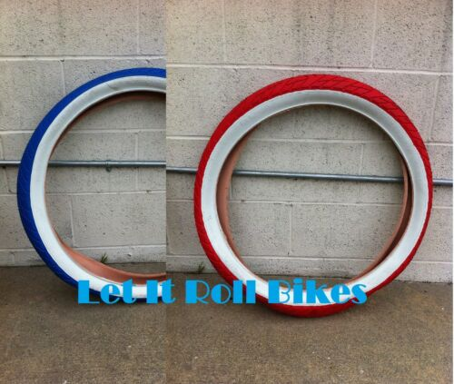 "26/"" x 3.0 Bike Tire SLICK Blue or Red w//White Wall Cruiser Chopper BMX Bicycle"