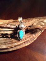 Native American Navajo Bennie Ration  Silver Blue Turquoise 3D  Kachina Pendant
