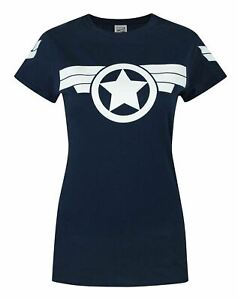 Captain-America-Super-Soldier-Women-039-s-Navy-White-T-Shirt