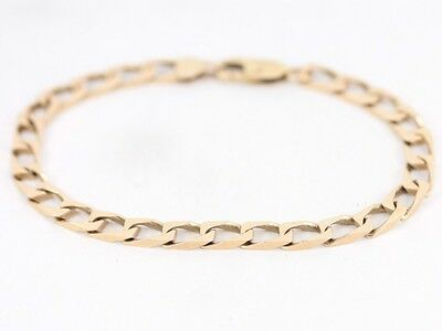 Curb Chain Bracelet Solid 9ct Gold Gents Ladies Ideal Gift 375 Y86