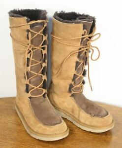 51c97d24aa8 Details about Tall UGG Whitley Moccasin Boots. Sheepskin Suede Leather Lace  Size 9. Stylish
