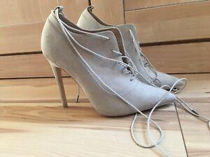 Asos grey / nude suede effect high heel lace up shoe boot UK 7