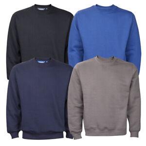 Mens-New-Plain-Crew-Neck-Sweatshirt-Jumper-Top-Pullover-Sweater-Long-Sleeve