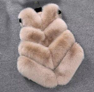 new arrival d05e9 2aa53 Details zu Damen Faux Pelz Weste Winter Ärmellos Mantel Jacken Warm  Fellweste V~ Grösse S