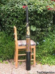 """Bien 47 """"\ 120cm Aborigène Didgeridoo Noir Teck Dot-peint + Sac + Cire D'abeille + Gagner Une Grande Admiration Et On Fait Largement Confiance à La Maison Et à L'éTranger."""