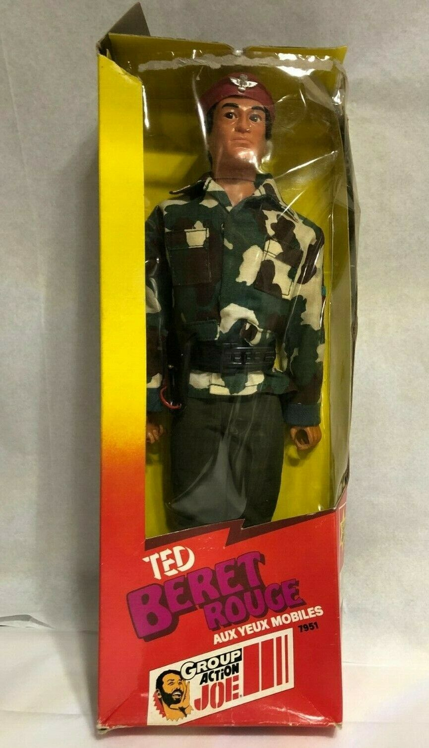 "Vintage 80s Group Action Joe ""TED Beret rot"" braun  Moving Eyes French GI Joe"
