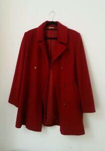 de 16 carrière rouge Trench à double Femme chic boutonnage mélange s M poches Sz en laine qpUn8pHwI