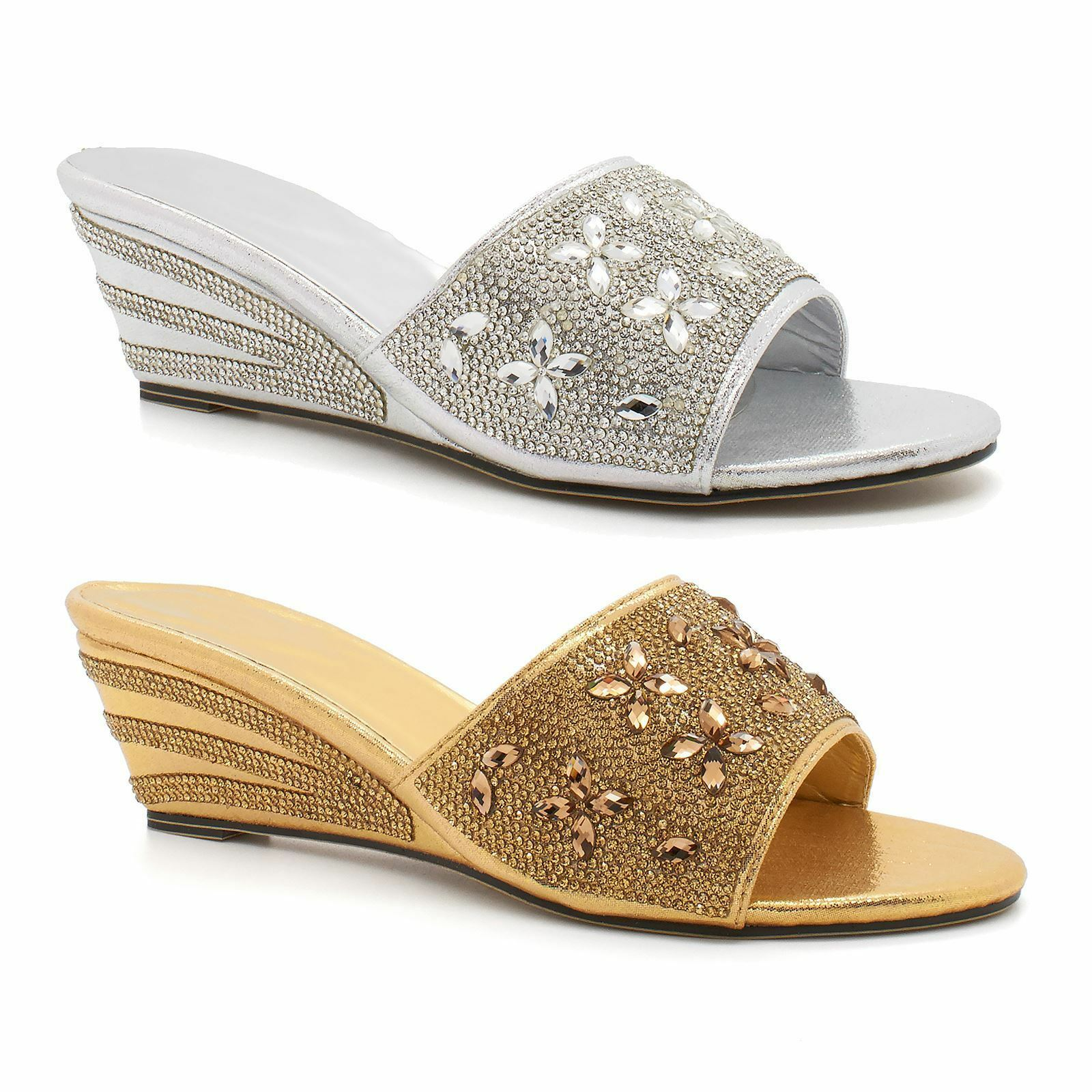 Beach Party Sandals Size Ladies Womens Heel Diamante Holiday Wedges Slip On 5-10