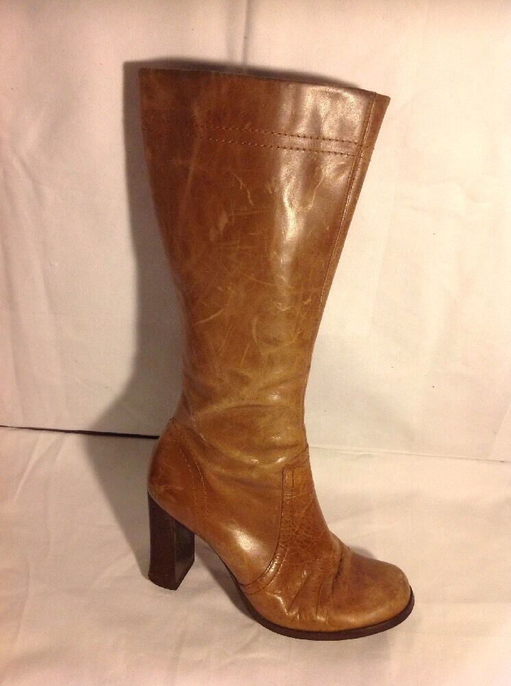 Ladies Brown Mid Calf Leather Boots Size 5