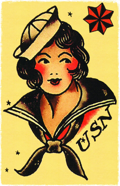 159 Usn Navy Pin Up Girl Sailor Jerry Traditional Style