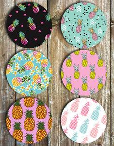 Pineapple Drink Coasters Set of 6 Non Slip Neoprene - Novelty Gift Ideas