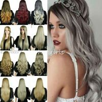 Two Tone Ombre Full Wigs Real Heat Resistant Long Wig Blonde Black Brown Red T6