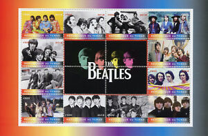 TCHAD-2018-CTO-The-Beatles-John-Lennon-Paul-McCartney-12-V-M-S-Music-timbres