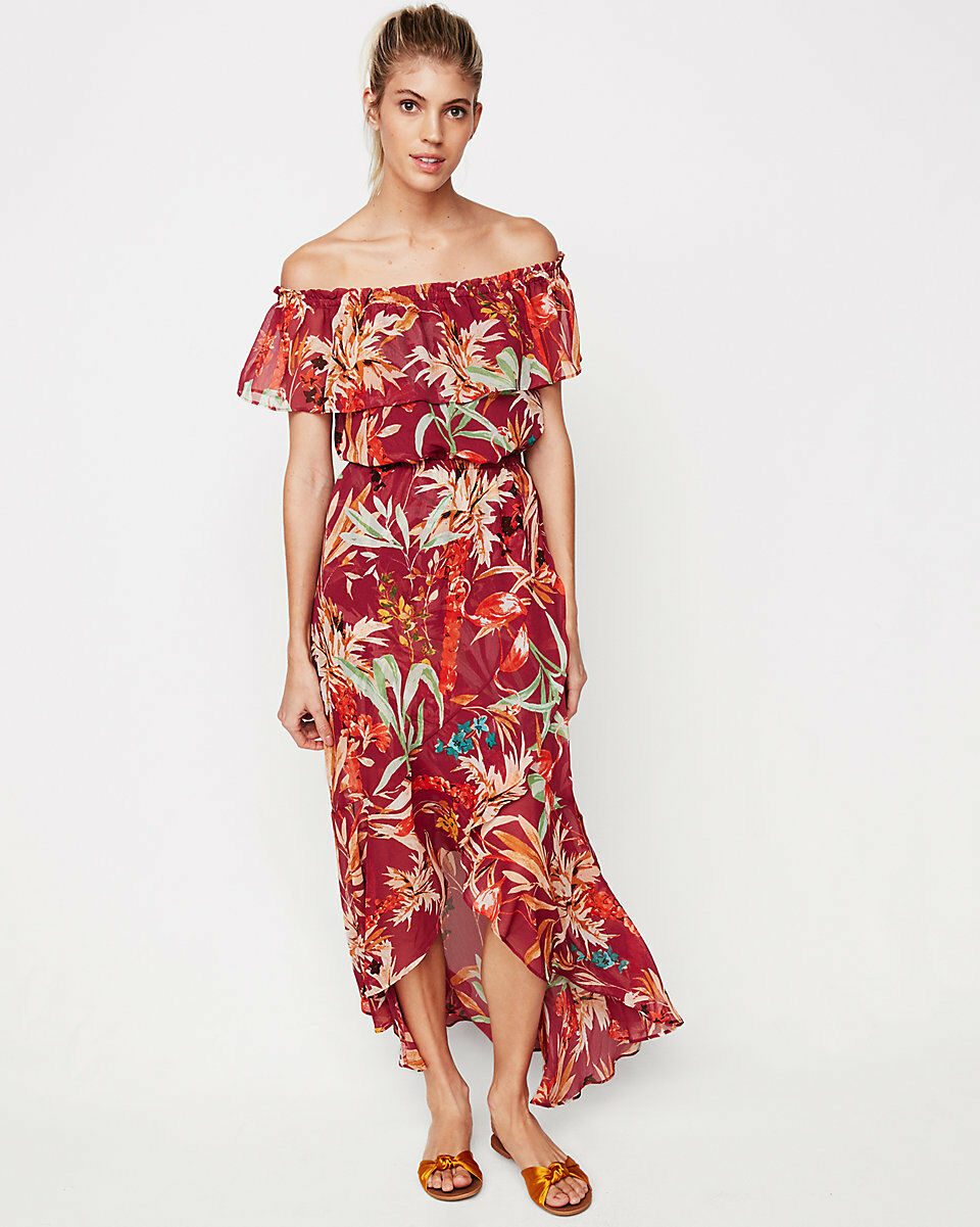 NWT Express Floral Off The Shoulder Maxi Dress sz S SOLD OUT ruffle Print rot