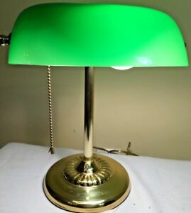 Details about Vintage Brass Piano Bankers Desk Lamp Green Glass Shade Brass  Base