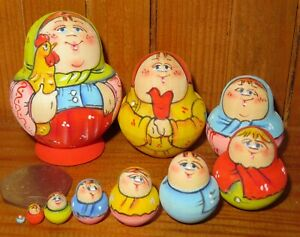 Russian-nesting-dolls-Matryoshka-MINIATURE-tiny-family-10-MAMA-Rooster-LATISHEVA
