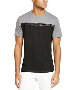 INC-Mens-T-Shirt-Black-Size-Large-L-Colorblocked-Crewneck-Stud-Tee-29-056