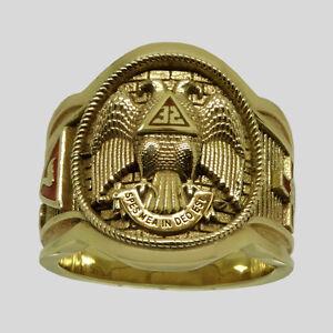 Scottish-Rite-Masonic-Ring-10K-Solid-Yellow-Gold-Freemason-Size-13-by-UNIQABLE