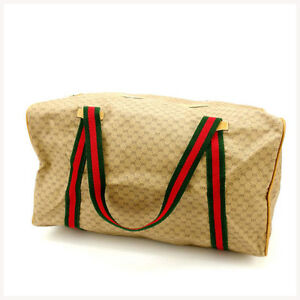 Gucci-Boston-bag-Beige-Green-Woman-Authentic-Used-Y2050
