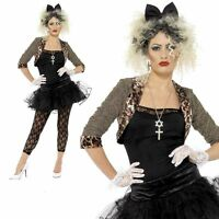 Wild Child 80's Pop Star Costume Fancy Dress Madonna Outfit Ladies UK 8-26