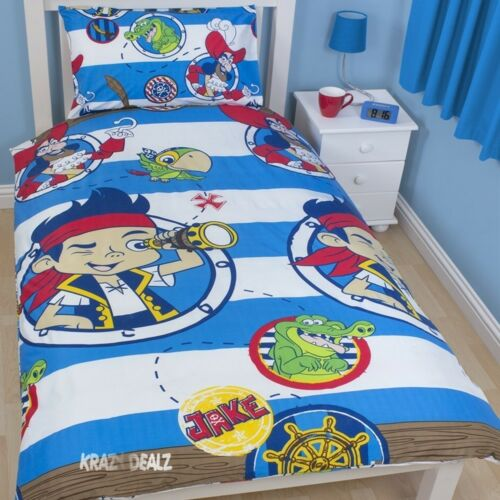Jake and Neverland Pirates Doubloons Single Rotary Duvet Cover Bed Set New Gift