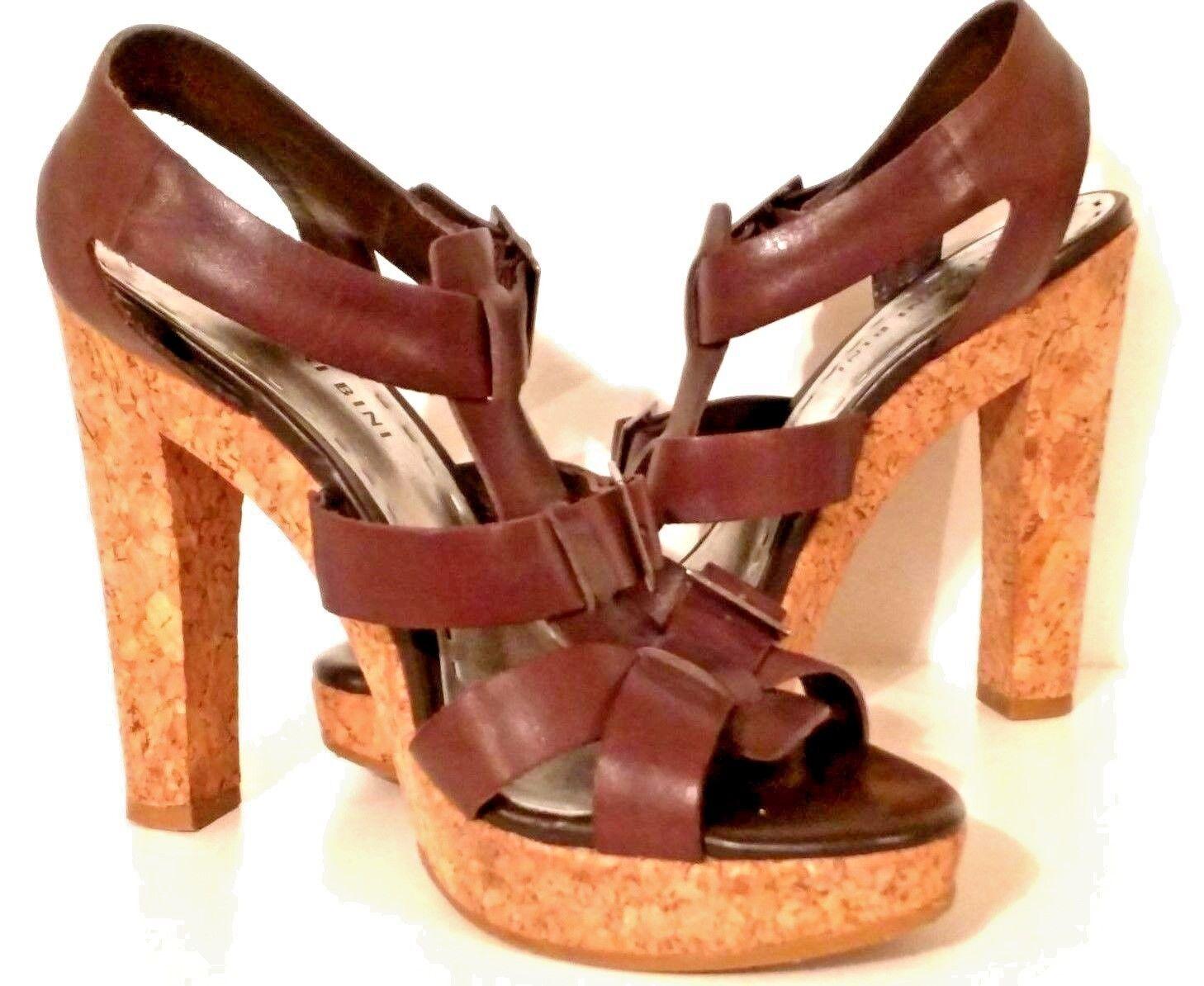 GIANNI BINI - Strappy Open-Toe Platform Leather Sandals with Cork Heel Women  8M