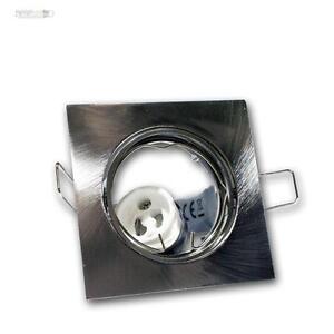 5-Stk-Einbaurahmen-satiniert-Einbauleuchte-GU10-schwenkbar-Einbaustrahler-eckig