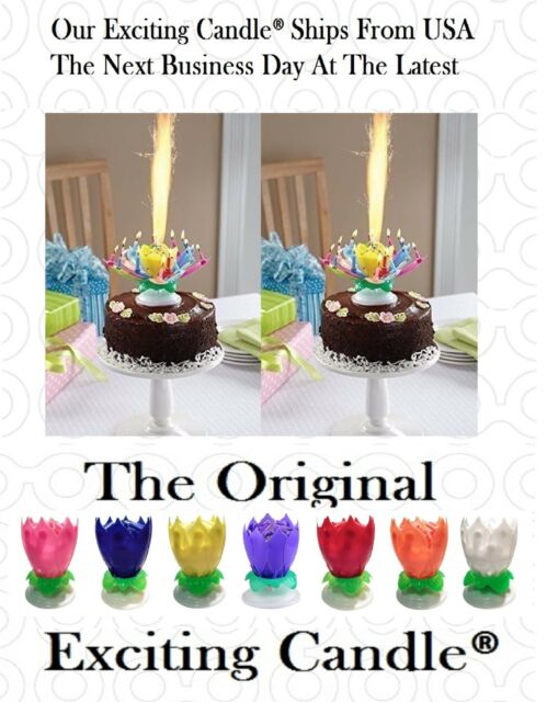 TWO Amazing Rainbow Musical Lotus Rotating Happy Flower Party Birthday Candles