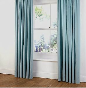 B Amp Q Faux Suede Ring Top Lined Curtains In Duck Egg Light