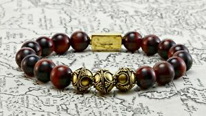 Audacieux Rouge Pour Hommes Oeil De Tigre & Perle Doré Bracelet-classic Perlé Bracelet-man