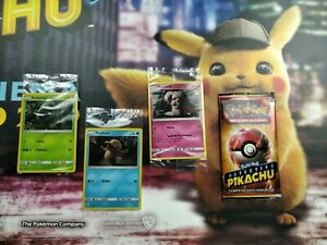 POKEMON-4X-HOLO-EXCLUSIVE-PROMO-DETECTIVE-PIKACHU-ITALIANO-SEALED-2019