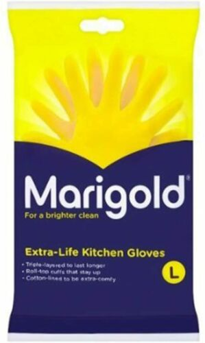 Large Kitchen Gloves Medium Marigold Extra Life Cotton Lined Strong Small