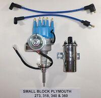 Plymouth Small Block 273-318-340-360 Blue Small Cap Hei Distributor +chrome Coil