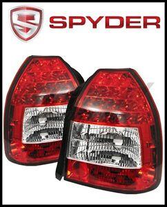 Details About Spyder Automotive Red Clear Led Tail Lights For 1996 2000 Honda Civic Hatchback
