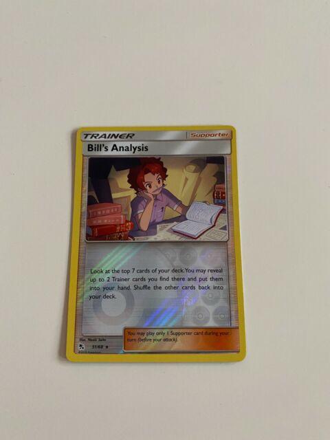 Pokemon Bill's Analysis 51/68 Reverse Holo Rare Hidden Fates Near Mint FREE SHIP