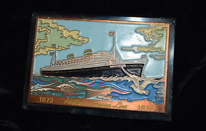 AM-047 - Holland American Line Cruise Ship Paperweight 1948 Metal on Glass Vntg