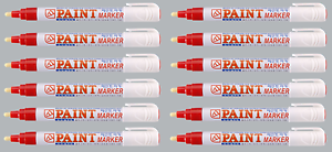 Red Permanent Paint Markers Industrial Strength Universal Surface Pens - Pack 12