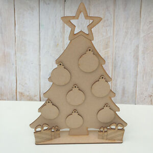 Details About Mdf Wooden Christmas Tree Freestanding Tree With Stand Baubles Christmas Tree