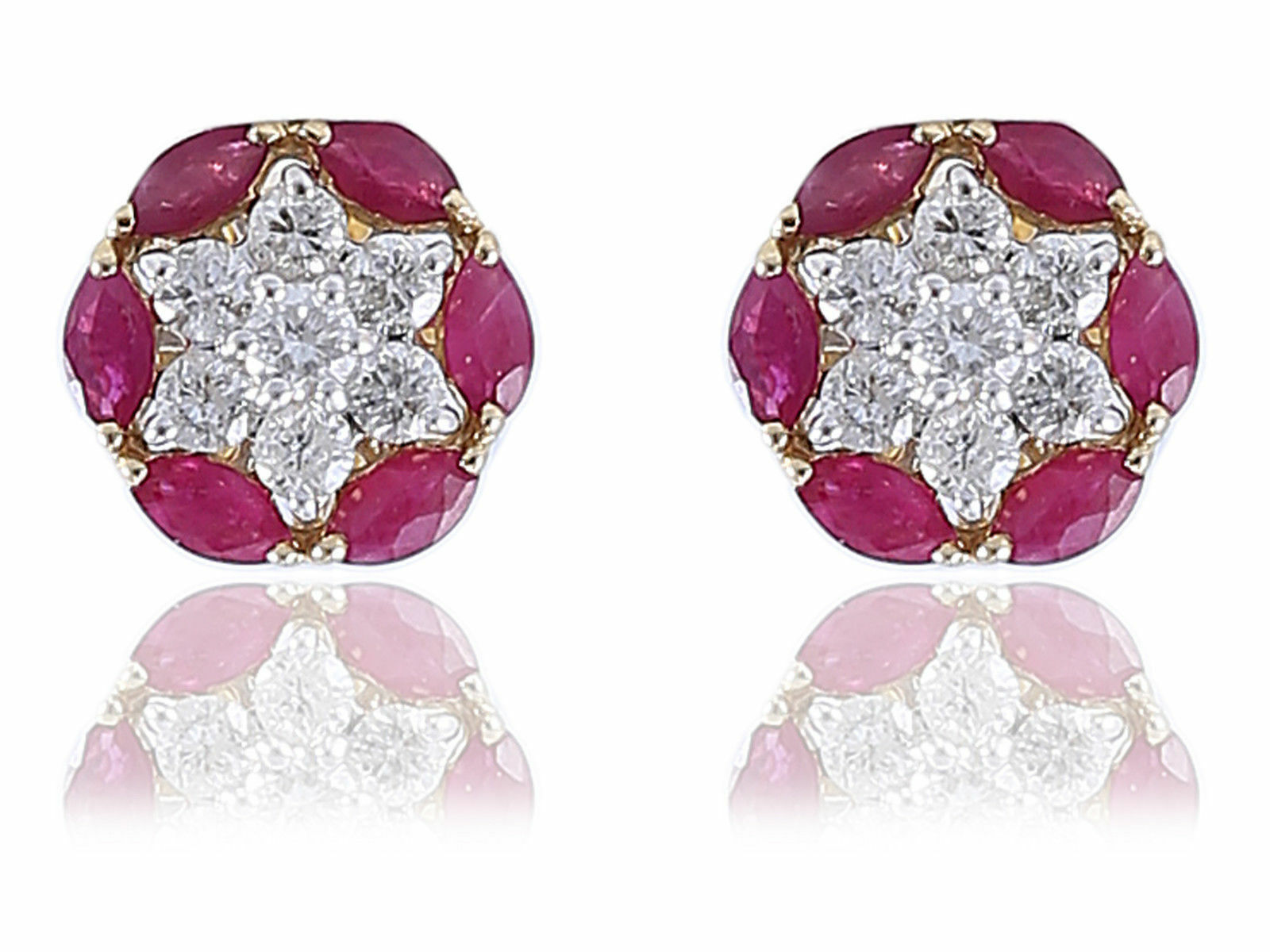 2.18 Cts Round Brilliant Cut Diamonds Ruby Stud Earrings In Fine 18K Yellow gold