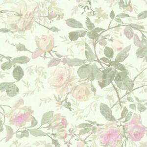 Wallpaper-Designer-Vintage-Luxe-Floral-Pastel-Pink-Green-Yellow-Pearlized-White