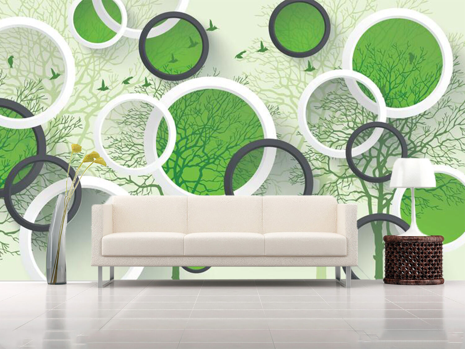 3D Rings Trees And Birds 39 Wallpaper Decal Dercor Home Kids Nursery Mural Home