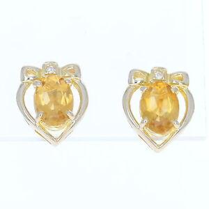 Corazon-Con-Lazo-Citrino-Pendientes-18-Ct-Oro-Amarillo-Diamantes-Naranja-Ovalado